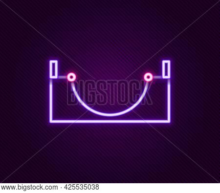 Glowing Neon Line Skate Park Icon Isolated On Black Background. Set Of Ramp, Roller, Stairs For A Sk