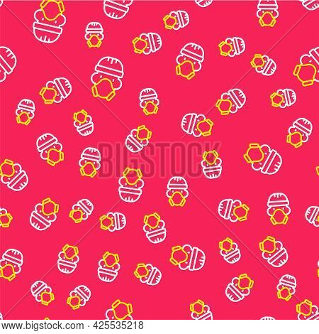 Line Nuclear Power Plant Worker Wearing Protective Clothing Icon Isolated Seamless Pattern On Red Ba