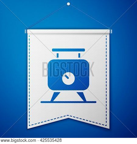 Blue Metal Tank With Grape Juice As Alcoholic Fermentation Icon Isolated On Blue Background. White P