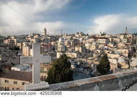 Jerusalem, Israel Old City. Skyline Of The Old City At The Western Wall And Temple Mount In Jerusale
