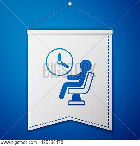 Blue Human Waiting In Airport Terminal Icon Isolated On Blue Background. White Pennant Template. Vec