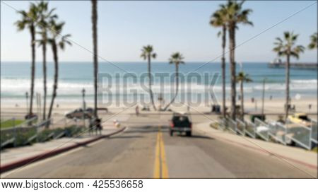 Road With Yellow Line, Pacific Ocean Beach, Oceanside California Usa. Tropical Summertime Palms, Wat