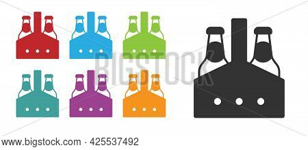 Black Pack Of Beer Bottles Icon Isolated On White Background. Case Crate Beer Box Sign. Set Icons Co