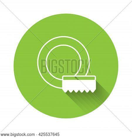 White Washing Dishes Icon Isolated With Long Shadow Background. Cleaning Dishes Icon. Dishwasher Sig