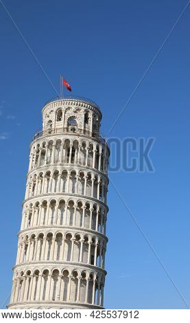 Leaning Tower Of Pisa One Of  Main Symbol Of Italy Without People,
