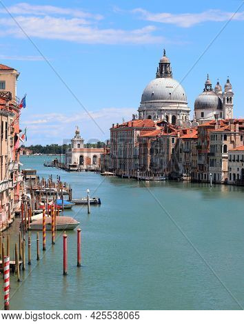 Church And Grand Canal In Venice Without Boat And People During The Lockdown