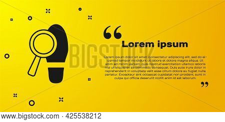 Black Magnifying Glass With Footsteps Icon Isolated On Yellow Background. Detective Is Investigating