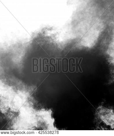 Black Clouds Of Polluted Smoke After The Explosion