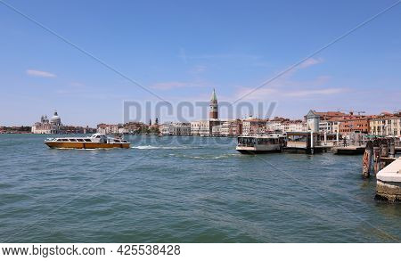 Very Few Boats Sailing In The Venice Lagoon In Italy Due To The Tremendous Locktown Caused By The Co