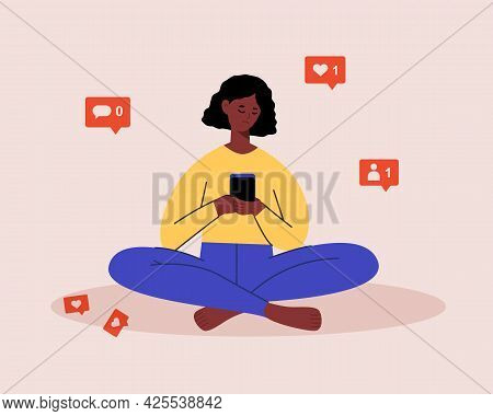 Sad African American Female Character Using Mobile Phone, Checking Social Media, Waiting For Like, C