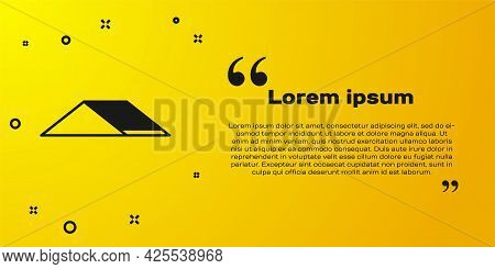 Black Skate Park Icon Isolated On Yellow Background. Set Of Ramp, Roller, Stairs For A Skatepark. Ex