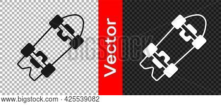 Black Longboard Or Skateboard Cruiser Icon Isolated On Transparent Background. Extreme Sport. Sport