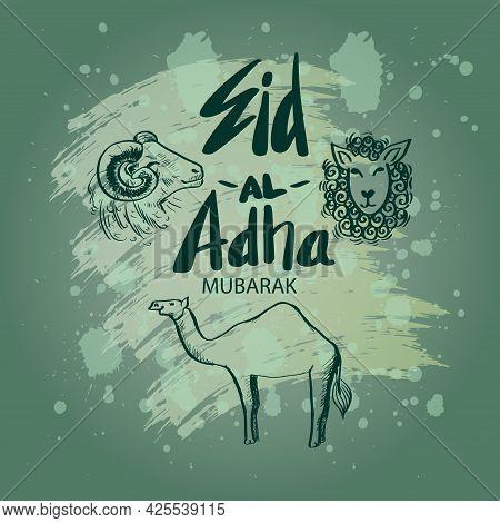 Eid Al Adha Hand Lettering With Goat, Lamb And Camel Illustration For Eid Mubarak Celebration