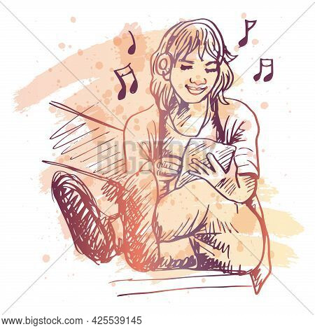 Sketch Of Beautiful Young Girl  Listening To Music