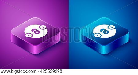 Isometric Atom Icon Isolated On Blue And Purple Background. Symbol Of Science, Education, Nuclear Ph