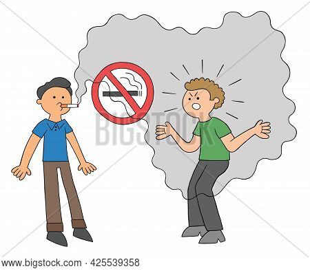 Cartoon Man Smoking In A Place Where Smoking Is Prohibited And The Other Man Getting Angry, Vector I