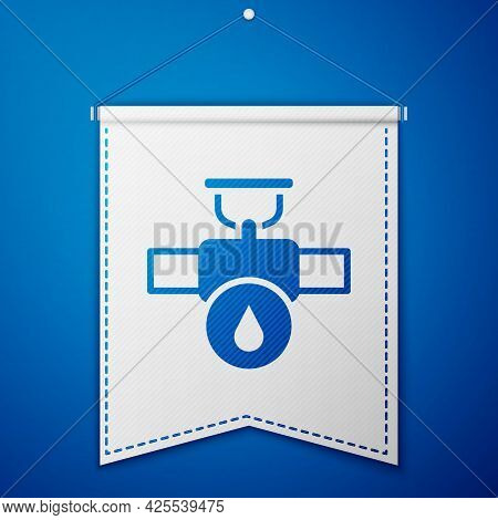 Blue Industry Metallic Pipe And Valve Icon Isolated On Blue Background. White Pennant Template. Vect