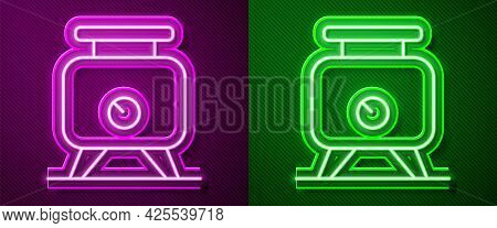 Glowing Neon Line Metal Tank With Grape Juice As Alcoholic Fermentation Icon Isolated On Purple And