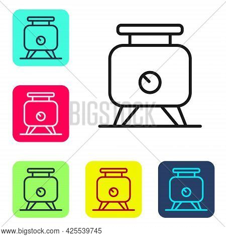 Black Line Metal Tank With Grape Juice As Alcoholic Fermentation Icon Isolated On White Background.