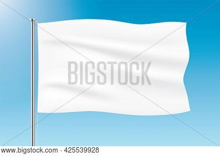 White Flag Waving On Blue Sky Background.
