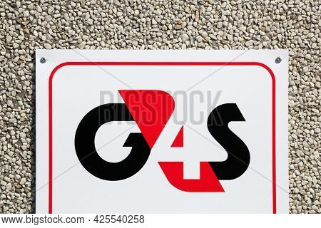 Tilst, Denmark - April 18, 2021: G4s Logo On A Wall. G4s Is A British Multinational Security Service