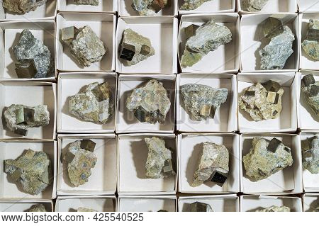 Pyrite Cubes In Rock In White Cardboard Boxes.
