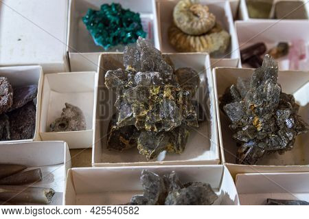 Minerals To The Boxes. Gypsum Crystals In The Center. Selective Focus