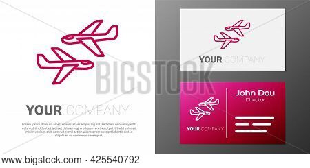 Logotype Line Plane Icon Isolated On White Background. Flying Airplane Icon. Airliner Sign. Logo Des