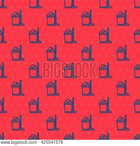 Blue Line Mop And Bucket Icon Isolated Seamless Pattern On Red Background. Cleaning Service Concept.