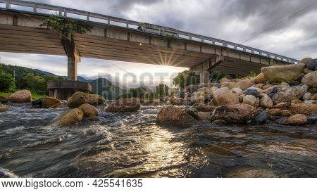 The Beautiful Scenery Of The Bridge Over The River At Khiriwong Village, Nakhon Si Thammarat, Thaila