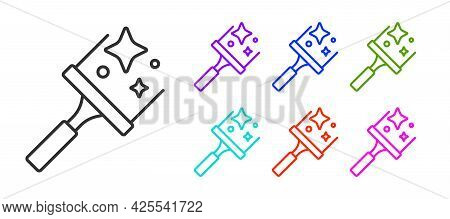 Black Line Cleaning Service With Of Rubber Cleaner For Windows Icon Isolated On White Background. Sq