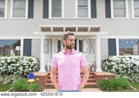 For Sale. Handsome Realtor Waiting For Visitors. Rent New Home. Ownership. Confident Man Outside