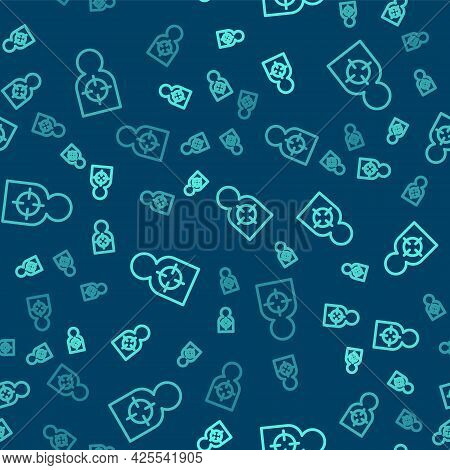 Green Line Human Target Sport For Shooting Icon Isolated Seamless Pattern On Blue Background. Clean