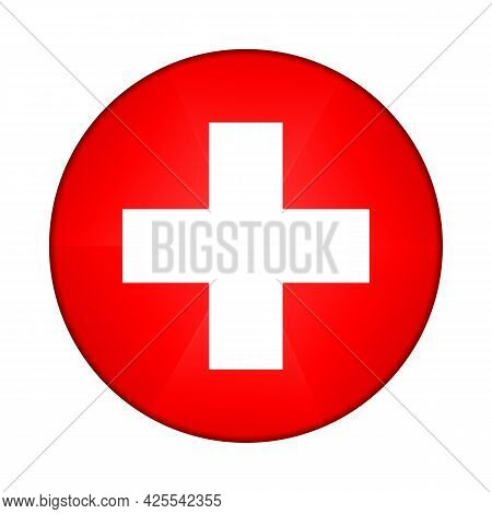 Glass Light Ball With Flag Of Switzerland. Round Sphere, Template Icon. Swiss National Symbol. Gloss