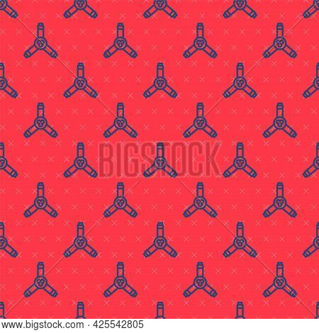 Blue Line Skateboard Y-tool Icon Isolated Seamless Pattern On Red Background. Vector