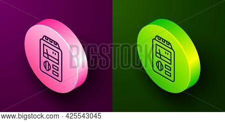 Isometric Line Dosimeter For Measuring Radiation Icon Isolated On Purple And Green Background. Gamma
