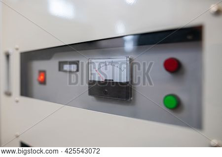 Close Up Of Fuse Box Meter And Switches On An Industrial Factory Machine.