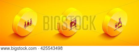 Set Isometric Bottle Of Wine, Fermentation Grapes And Wine Bottle With Glass Icon. Vector