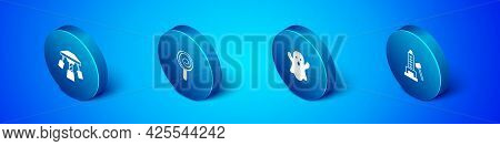 Set Isometric Attraction Carousel, Ghost, Striker Attraction With Hammer And Lollipop Icon. Vector