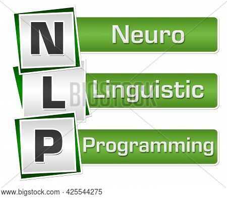 Nlp And Its Full Form Written Over Green Grey Background.