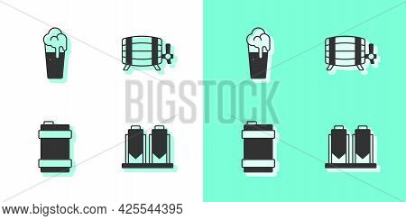Set Beer Brewing Process, Glass Of Beer, Metal Keg And Wooden Barrel Icon. Vector