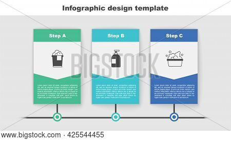 Set Bucket With Foam, Dishwashing Liquid Bottle And Basin Soap Suds. Business Infographic Template.