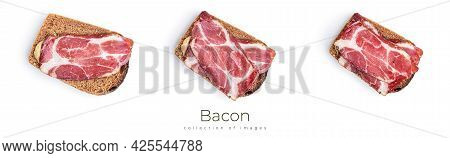 Bacon Isolated On A White Background. Bacon.