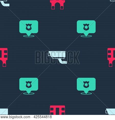 Set Bulletproof Vest, Security Camera And Police Badge On Seamless Pattern. Vector