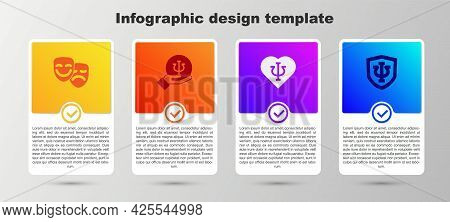 Set Comedy And Tragedy Masks, Psychology, Psi, And . Business Infographic Template. Vector