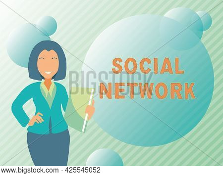 Conceptual Display Social Network. Business Idea A Framework Of Individual Linked By Interan Individ