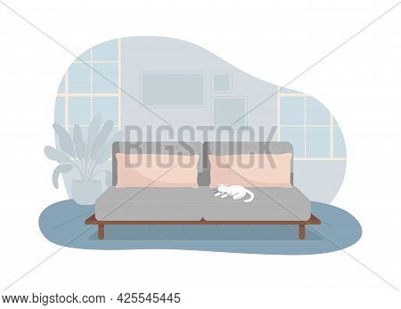 Living Room With Grey Sofa 2d Vector Isolated Illustration. Comfortable Couch For Rest. Modern House