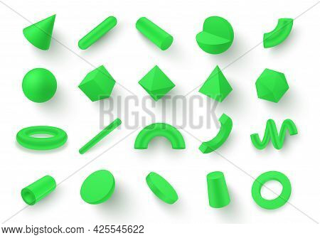 Collection Of Various 3d Green Geometric Shapes Vector Illustration In Realistic Isometry Style