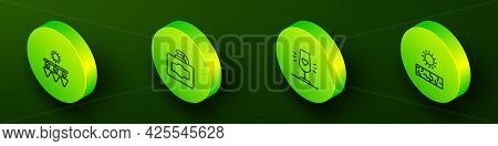 Set Isometric Line Drying Grapes, Cardboard Box Of Wine, Wine Glass And Drought Icon. Vector