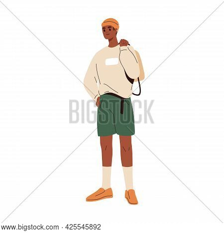 Black-skinned Man In Fashion Summer Clothes. Modern Guy Wearing Trendy Shorts, Long Sleeve, Knitted
